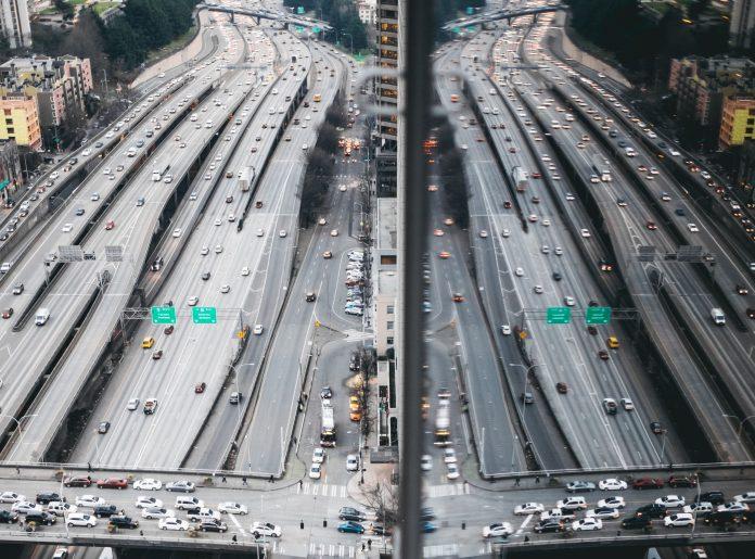 Vue aérienne autoroute